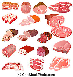 set of different kinds of meat - illustration of a set of...