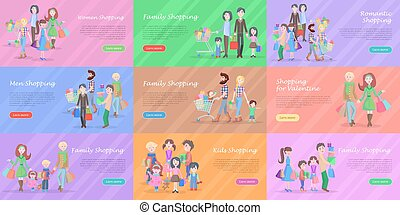 Set of different kinds of shopping in storehouses