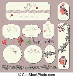 Set of different labels with winter forest birds. Template for season and Christmas design, greeting cards, invitations and decoration.