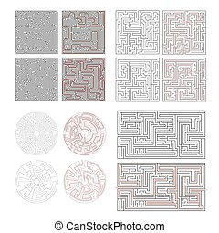Set of different labyrinths with solutions on white