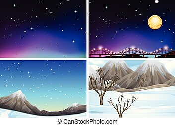 Set of different landscape scenes