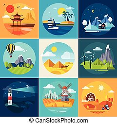 Set of Different Landscapes in the Flat Style