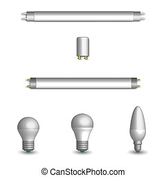 Set of different LED and fluorescent light bulbs in 3D,...