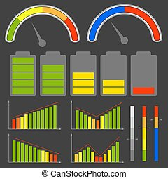 Set of different level indicators. Vector images.