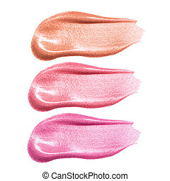 Set of different lip glosses smear samples isolated on...
