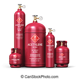 Set of different liquefied acetylene industrial gas containers