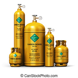 Set of different liquefied carbon dioxide industrial gas containers