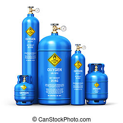 Set of different liquefied oxygen industrial gas containers...