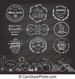 Set of different logotype templates for fruit smoothie and juice