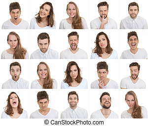 set of different male and female faces, facial expressions