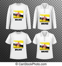Set of different male shirts with Brunei flag screen on shirts isolated