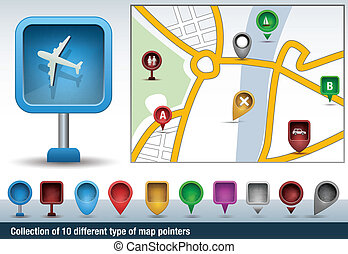 Set of different map pointers - Collection of map...