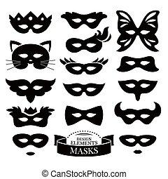Set of different masks