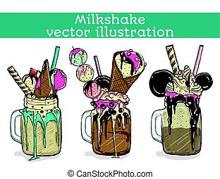 Set of different milkshakes. Chocolate, strawberry, vanilla...