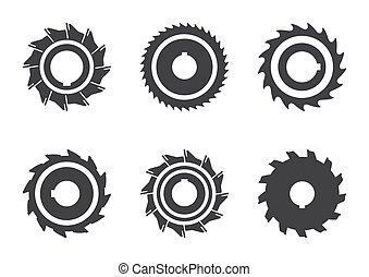 Set of different milling cutter icons