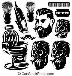 Set of different monochrome design elements for barber shop. Vector illustration