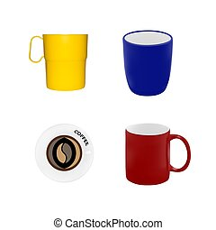 Set of different mugs in vector.