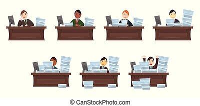Set of different nationalities Workload workers in cartoon...