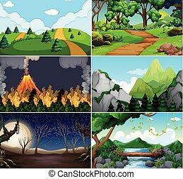 Set of different nature scene