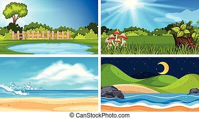Set of different nature scenes