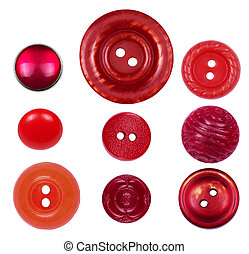 Set of different, new and old red buttons on a white background