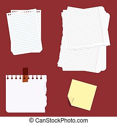 Set of different note papers. Vector illustration.