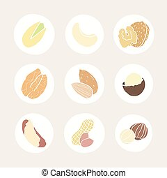 Set of different nuts icons.