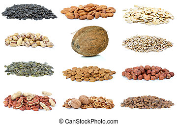 Set of different nuts isolated on the white background