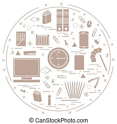 Set of different office objects arranged in a circle. Including icons of paper clips, buttons, pencils, glue, monitor, clock and other.
