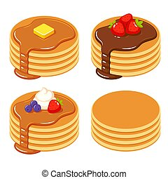 Set of different pancakes