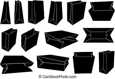 Set of different paper bags