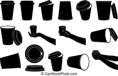 Set of different paper cups for coffee or tea