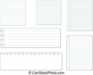 Set of different paper, vector eps10 illustration