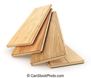 Set of different parquet plank isolated on a white. 3d illustration