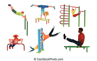 Set of different people doing sport workout on the street. Vector illustration in flat cartoon style