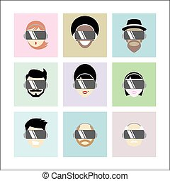 Set of Different People Wearing Virtual Reality Headset -...