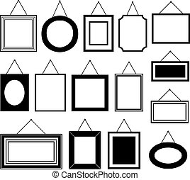 Set of different picture frames isolated on white