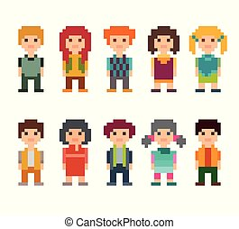 Set of different pixel art 8-bit people characters.