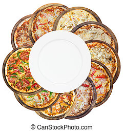Set of different pizzas in one set, isolated on white, top view