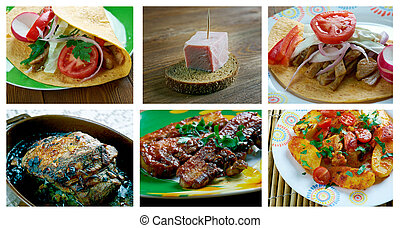 set of different  pork meat