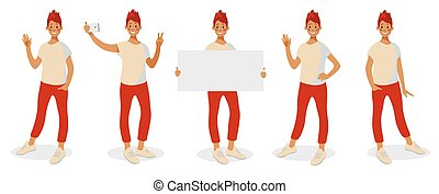 Teenager with different gestures, selfie, presentation, greeting.
