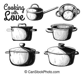 Set of different pots on a white background. Vector