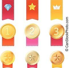 Set of different prizes. Vector illustration