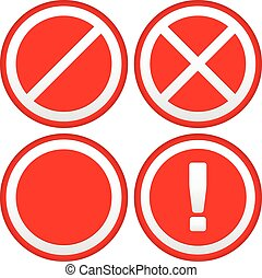 Set of Different Prohibition / Warning Signs, road signs. European no parking, no entry signs and sign with exclamation point      Set of Different Prohibition / Warning Signs, road signs. European n