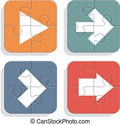 Set of different puzzle arrows icons. Vector