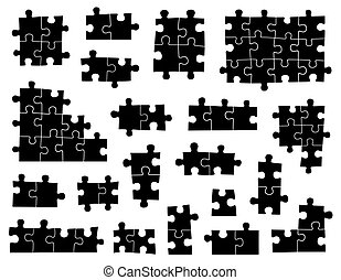 Set of different puzzle pieces