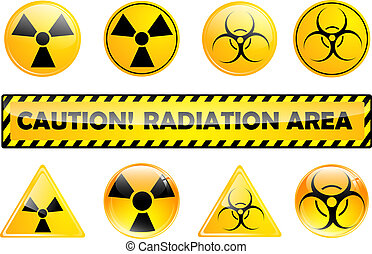 radiation signs - set of different radiation signs over ...