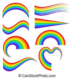 Set of different rainbow in cartoon style for design on white, stock vector illustration