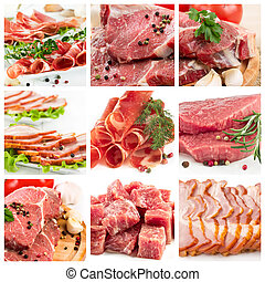Set of different raw meat