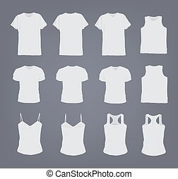 Set of different realistic white female and male t-shirt. Front and back view. Shirt sleeveless, short-sleeve, singlet, tank top. Vector illustration collection in gray background.